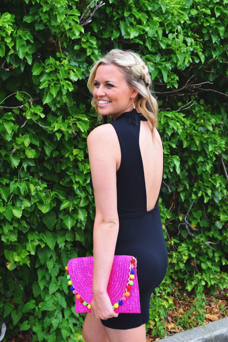 LOVE ME FOREVER DRESS // SUNSET POM POM CLUTCH PURSE