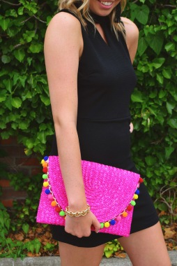 LOVE ME FOREVER DRESS //SUNSET POM POM CLUTCH PURSE